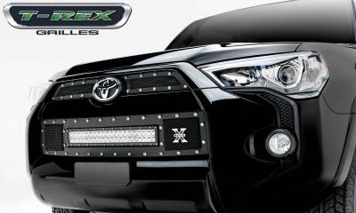 "Torch Series Grilles - T-REX Grilles - Toyota 4 Runner TORCH Series LED Light Grille 1 - 20"" Light Bar, Formed Mesh Grille, Main & Bumper Kit, 3 Pc's - Pt # 6319491"
