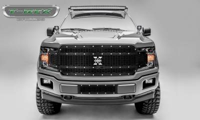 X-Metal Series Grilles - T-REX Grilles - Ford F-150 - Laser X-Metal Main Grille Replacement - Fits Vehicles w/ FFC - Laser Cut Steel Pattern - Chrome Studs with Black Finish - Pt # 7715891