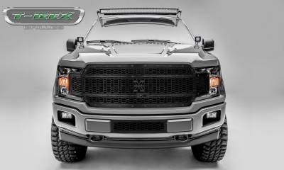 X-Metal Series Grilles - T-REX Grilles - T-REX Ford F-150 - Laser X-Metal STEALTH Series - Main Grille Replacement - Fits Vehicles w/ FFC - Laser Cut Steel Pattern - Black  - Pt # 7715891-BR
