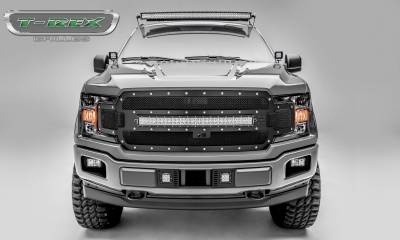 "Torch Series Grilles - T-REX Grilles - T-REX Ford F-150 - Torch Series - Main Grille Replacement w/ (1) 30"" LED Light Bar - Fits Vehicles w/ FFC - Chrome Studs with Black Powdercoat Finish - Pt # 6315751"