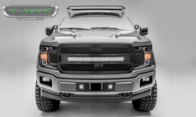 "Torch Series Grilles - T-REX Grilles - Ford F-150 - Torch STEALTH Main Grille Replacement w/ (1) 30"" LED Light Bar - Fits Vehicles w/ FFC - Black Studs with Black Finish - Pt # 6315751-BR"