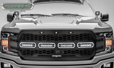 """T-REX Grilles - 2018-2019 F-150 Revolver Grille, Black, 1 Pc, Replacement, Chrome Studs, Incl. (4) 6"""" LEDs, Fits Vehicles with Camera - PN #6515791 - Image 2"""