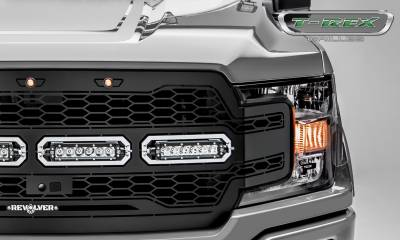 """T-REX Grilles - 2018-2019 F-150 Revolver Grille, Black, 1 Pc, Replacement, Chrome Studs, Incl. (4) 6"""" LEDs, Fits Vehicles with Camera - PN #6515791 - Image 3"""