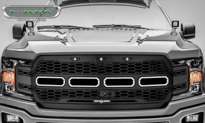 T-REX Grilles - 2018-2019 F-150 Revolver Grille, Black, 1 Pc, Replacement, Chrome Studs, Fits Vehicles with Camera - PN #6515781 - Image 2