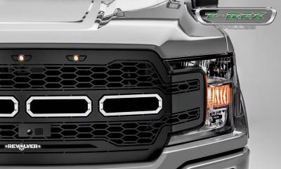 T-REX Grilles - 2018-2019 F-150 Revolver Grille, Black, 1 Pc, Replacement, Chrome Studs, Fits Vehicles with Camera - PN #6515781 - Image 3