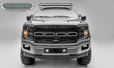 Revolver Series Grilles - T-REX Grilles - T-REX Ford F-150 - Revolver Series - Main Grille Replacement w/ no LEDs - Fits Vehicles w/ FFC - Laser Cut Steel Pattern - Black Powdercoat Finish - Pt # 6515781