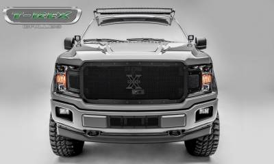 X-Metal Series Grilles - T-REX Grilles - Ford F-150 - X-Metal STEALTH Series - Main Grille Replacement - Fits Vehicles w/ FFC - Black Studs with Black Powdercoat Finish - Pt # 6715791-BR