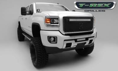 "T-REX Grilles - 2015-2019 Sierra HD Stealth Torch Grille, Black, 1 Pc, Insert, Black Studs, Incl. (1) 30"" LED - PN #6312111-BR"