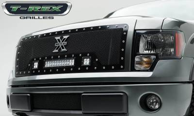 "T-REX Grilles - 2009-2012 F-150 Torch Grille, Black, 1 Pc, Insert, Chrome Studs, Incl. (2) 3"" LED Cubes and (1) 12"" LEDs - PN #6315681"