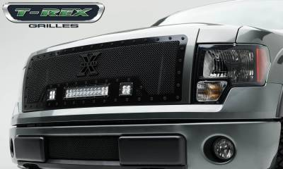 "T-REX Grilles - 2009-2012 F-150 Stealth Torch Grille, Black, 1 Pc, Insert, Black Studs, Incl. (2) 3"" LED Cubes and (1) 12"" LEDs - PN #6315681-BR"