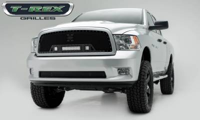 "T-REX Grilles - 2009-2012 Ram 1500 Stealth Torch Grille, Black, 1 Pc, Insert, Black Studs, Incl. (2) 3"" LED Cubes and (1) 12"" LEDs - PN #6314571-BR"