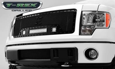 "T-REX Grilles - 2013-2014 F-150 Stealth Torch Grille, Black, 1 Pc, Insert, Black Studs, Incl. (2) 3"" LED Cubes and (1) 12"" LEDs - PN #6315721-BR"