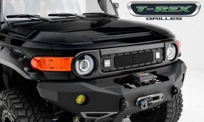 "T-REX Grilles - 2007-2014 Toyota FJ Cruiser Stealth Torch Grille, Black, 1 Pc, Insert, Black Studs, Incl. (2) 3"" LED Cube Lights - PN #6319321-BR"
