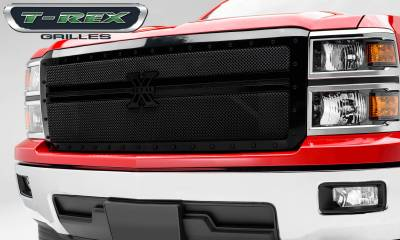 Stealth Series Grilles - T-REX Grilles - Chevrolet Silverado 1500 - STEALTH Metal - Black - 1 Pc Main Grille Replacement - 2 Bars Design - Pt # 6711181-BR
