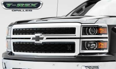 T-REX Grilles - Chevrolet Silverado Z71 X-METAL Series - Studded Main Grille - ALL Black - 2 Pc Style - Pt # 6711201-BR