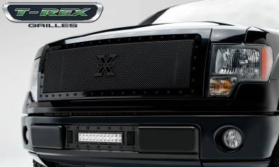 Stealth Series Grilles - T-REX Grilles - Ford F-150 Stealth Metal Formed Mesh Grille, Main, Insert, 1 Pc, All Black Steel, Requires Center Bars Cutting  on OEM shell - Pt # 6715721-BR