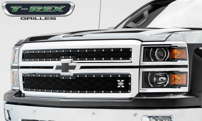 X-Metal Series Grilles - T-REX Grilles - Chevrolet Silverado Z71 X-METAL Series - Studded Main Grille - ALL Black - 2 Pc Style - Pt # 6711201