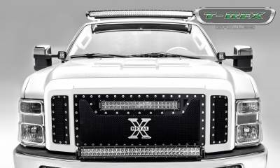 Torch Series Grilles - T-REX Grilles - Ford Super Duty TORCH Series  - 3 Pc Main Grille w/ 20 Inch LED Light Bar - ALL Black w/ chrome studs - Pt # 6315451