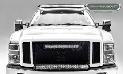 Torch Series Grilles - T-REX Grilles - Ford Super Duty TORCH Series - 3 Pc Main Grille w/ 20 Inch LED Light Bar - ALL Black w/ Black Studs - Pt # 6315451-BR