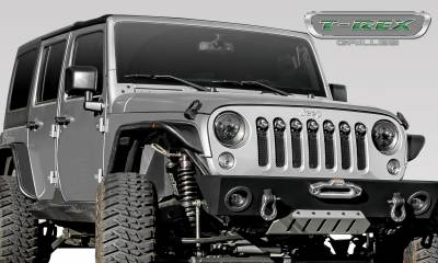 """Stealth Series Grilles - T-REX Grilles - Jeep Wrangler JK - STEALTH Torch Series w/ (7) 2"""" Round LED Lights - 1 Piece Frame & Formed Wire Mesh - Insert - Pt # 6314841-BR"""