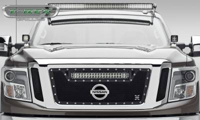 "T-REX Grilles - 2016-2019 Titan Torch Grille, Black, 3 Pc, Insert, Chrome Studs, Incl. (1) 20"" LED - PN #6317851 - Image 1"