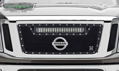 "T-REX Grilles - 2016-2019 Titan Torch Grille, Black, 3 Pc, Insert, Chrome Studs, Incl. (1) 20"" LED - PN #6317851 - Image 3"