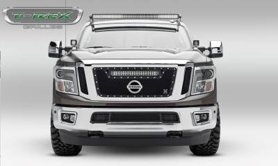 "T-REX Grilles - 2016-2019 Titan Torch Grille, Black, 3 Pc, Insert, Chrome Studs, Incl. (1) 20"" LED - PN #6317851 - Image 2"