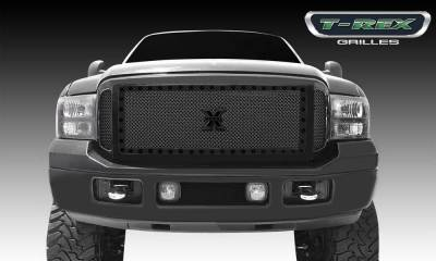 T-REX Grilles - 2005-2007 Super Duty, Excursion Stealth X-Metal Grille, Black, 3 Pc, Insert, Black Studs - PN #6715611-BR