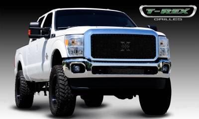 Stealth Series Grilles - T-REX Grilles - Ford Super Duty Stealth Metal Black Studded Main Grille - 1 Pc - Pt # 6715461-BR