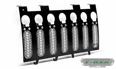 "T-REX Grilles - 2007-2018 Jeep JK, JKU Laser Torch Grille, Black, 1 Pc, Insert, Chrome Studs, Incl. (7) 2"" LED Round Lights - PN #7314841 - Image 8"