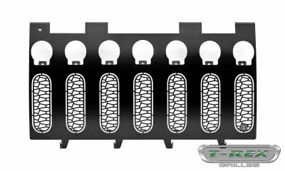 "T-REX Grilles - 2007-2018 Jeep JK, JKU ZROADZ Grille, Black, 1 Pc, Insert, Incl. (7) 2"" LED Round Lights - PN #Z314841 - Image 2"