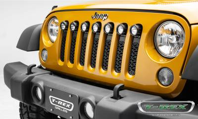 "T-REX Grilles - 2007-2018 Jeep JK, JKU ZROADZ Grille, Black, 1 Pc, Insert, Incl. (7) 2"" LED Round Lights - PN #Z314841 - Image 1"