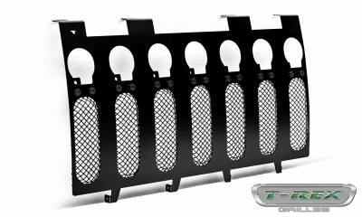 "T-REX Grilles - 2007-2018 Jeep JK, JKU Stealth Torch Grille, Black, 1 Pc, Insert, Black Studs, Incl. (7) 2"" LED Round Lights - PN #6314841-BR - Image 7"