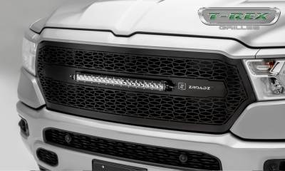 "T-REX Grilles - 2019 Ram 1500 Laramie, Lone Star, Big Horn, Tradesman ZROADZ Grille, Black, 1 Pc, Replacement, Incl. (1) 20"" LED - PN #Z314651"