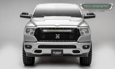 "T-REX Grilles - 2019 Ram 1500 Laramie, Lone Star, Big Horn, Tradesman Torch Grille, Black, 1 Pc, Replacement, Chrome Studs, Incl. (1) 30"" LED - PN #6314651 - Image 4"