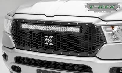 Torch Series Grilles - T-REX Grilles - RAM 1500 - Laser Torch Main Grille Replacement w/ (1) 30 inch LED Light Bar - Laser Cut Repeating Pattern, Chrome Studs - Black Finish - Pt # 7314651