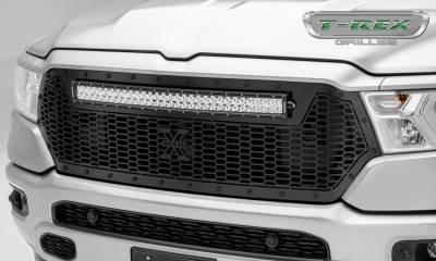 Torch Series Grilles - T-REX Grilles - RAM 1500 - Stealth Laser Torch Main Grille Replacement w/ (1) 30 inch LED Light Bar - Laser Cut Repeating Pattern & Black Studs - Pt # 7314651-BR