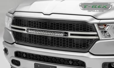 Torch Series Grilles - T-REX Grilles - RAM 1500 - Laser Torch Main Grille Replacement w/ (1) 20 inch Single Row LED Light Bar - Laser Cut Repeating Pattern Trim - Pt # 7314651-T