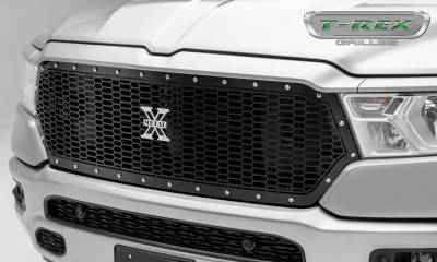 X-Metal Series Grilles - T-REX Grilles - RAM 1500 - Laser X Series - Main Grille Replacement w/ Laser Cut Repeating Pattern & Chrome Studs - Black Powder Coat Finish - Pt # 7714651
