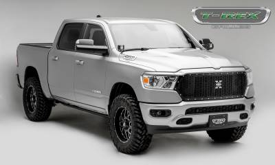 T-REX Grilles - 2019-2020 Ram 1500 Laramie, Lone Star, Big Horn, Tradesman Laser X Grille, Black, 1 Pc, Replacement, Chrome Studs - PN #7714651 - Image 5