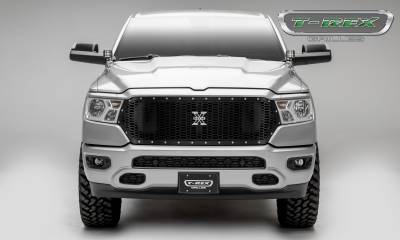 T-REX Grilles - 2019-2020 Ram 1500 Laramie, Lone Star, Big Horn, Tradesman Laser X Grille, Black, 1 Pc, Replacement, Chrome Studs - PN #7714651 - Image 4