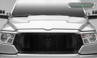 T-REX Grilles - 2019-2021 Ram 1500 Laramie, Lone Star, Big Horn, Tradesman Stealth Laser X Grille, Black, 1 Pc, Replacement, Black Studs, Does Not Fit Vehicles with Camera - PN #7714651-BR - Image 2