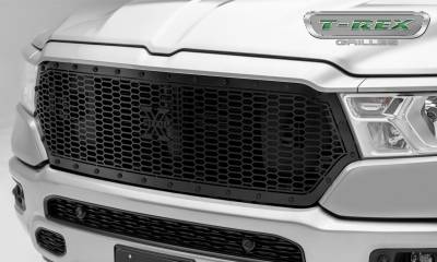 X-Metal Series Grilles - T-REX Grilles - RAM 1500 - Stealth Laser X Series - Main Grille Replacement w/ Laser Cut Repeating Pattern & Black Studs - Black Powder Coat Finish - Pt # 7714651-BR