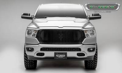 T-REX Grilles - 2019-2021 Ram 1500 Laramie, Lone Star, Big Horn, Tradesman Stealth Laser X Grille, Black, 1 Pc, Replacement, Black Studs, Does Not Fit Vehicles with Camera - PN #7714651-BR - Image 4