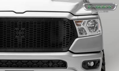 T-REX Grilles - 2019-2021 Ram 1500 Laramie, Lone Star, Big Horn, Tradesman Stealth Laser X Grille, Black, 1 Pc, Replacement, Black Studs, Does Not Fit Vehicles with Camera - PN #7714651-BR - Image 3