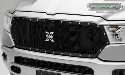 T-REX Grilles - 2019 Ram 1500 Laramie, Lone Star, Big Horn, Tradesman X-Metal Grille, Black, 1 Pc, Replacement, Chrome Studs - PN #6714651
