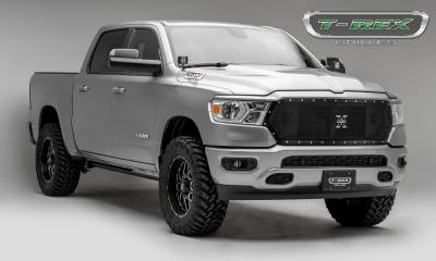T-REX Grilles - 2019-2021 Ram 1500 Laramie, Lone Star, Big Horn, Tradesman X-Metal Grille, Black, 1 Pc, Replacement, Chrome Studs, Does Not Fit Vehicles with Camera - PN #6714651 - Image 5