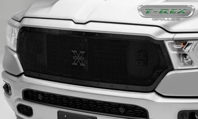 T-REX Grilles - 2019 Ram 1500 Laramie, Lone Star, Big Horn, Tradesman Stealth X-Metal Grille, Black, 1 Pc, Replacement, Black Studs - PN #6714651-BR