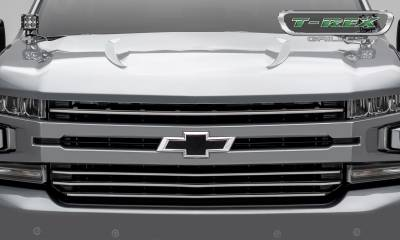 T-REX Grilles - 2019 Silverado 1500Trailboss, RST, LT Round Billet Grille, Horizontal Round, Brushed, 4 Pc, Overlay - PN #6211233 - Image 2