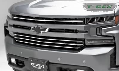 T-REX Grilles - 2019 Silverado 1500Trailboss, RST, LT Round Billet Grille, Horizontal Round, Silver, 4 Pc, Overlay - PN #6211236 - Image 1